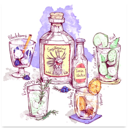Gin Variations - Poster 60x60 cm