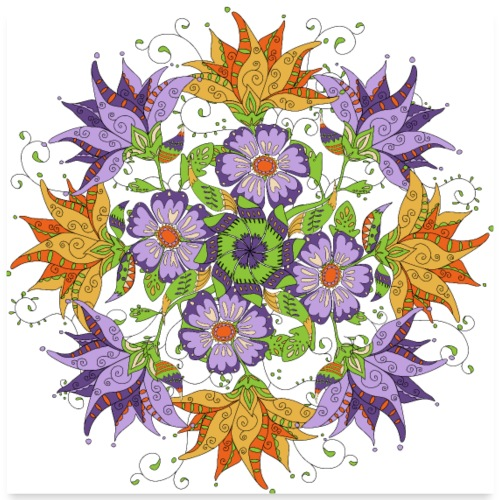 mandala with abstract flowers - Poster 60x60 cm