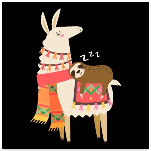 Cute Sloth Sleeping On Llama Gift - Poster 60x60 cm