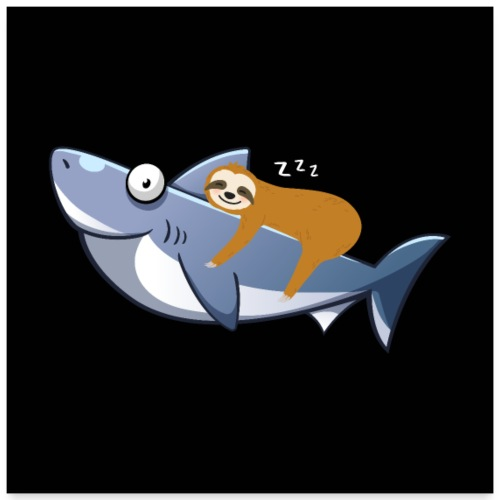 Sloth Riding Shark Funny Trend - Poster 60x60 cm