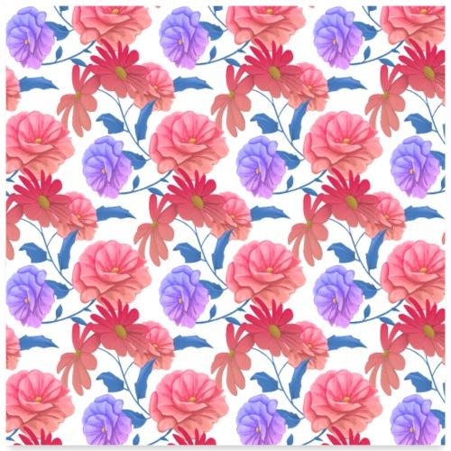 Blumen Malerei Kunst Gemälde Muster - Poster 60x60 cm