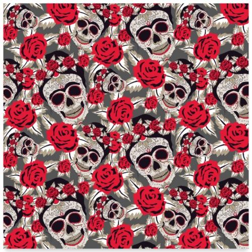 Totenkopf Schädel Zuckerschädel Mexico Rose Muster - Poster 60x60 cm