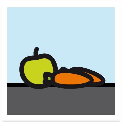 Stilleben mit Apfel und Karotten - Poster 60x60 cm
