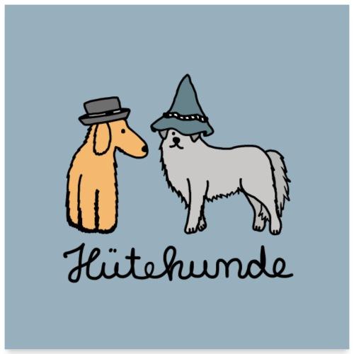 Hütehunde Poster - Hunde mit Hut - Poster 60x60 cm
