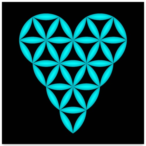 Heart of Life, Blue-N 3D - P, Dark Background. - Poster 24 x 24 (60x60 cm)