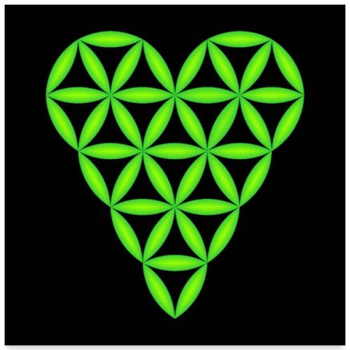 Heart of Life, Green-N, 3D - P, Dark Background. - Poster 24 x 24 (60x60 cm)
