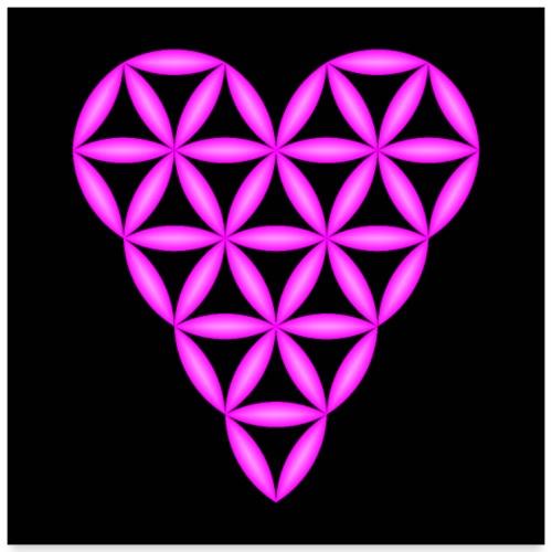 Heart of Life, Purple-N, 3D - P, Dark Background. - Poster 24 x 24 (60x60 cm)