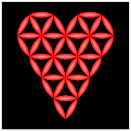 Heart of Life, Red, 3D - P, Dark Background. - Poster 24 x 24 (60x60 cm)