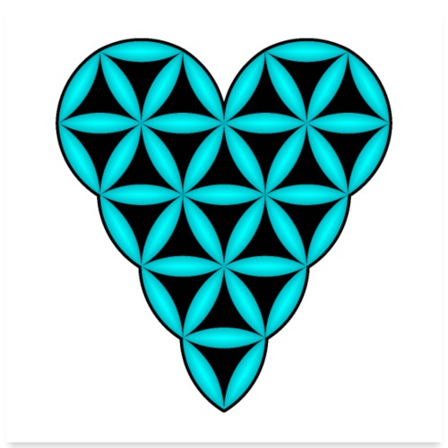 Heart of Life, Blue-N, 3D - P, White Background. - Poster 24 x 24 (60x60 cm)