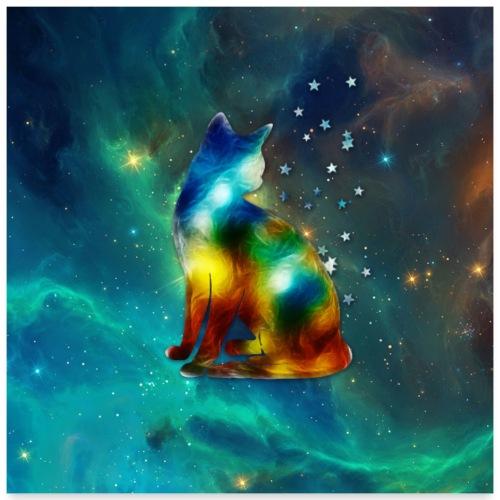Katze, Sterne, Weltraum, Kosmos, Galaxie, Space - Poster 60x60 cm