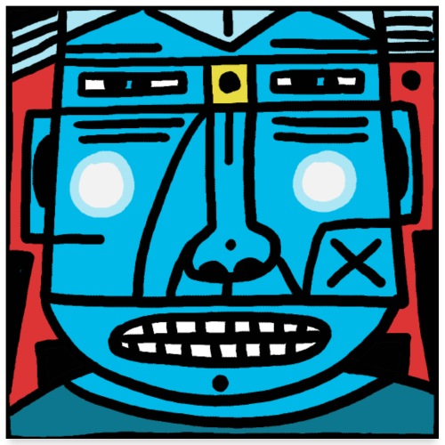 Blauer Kopf - Poster 60x60 cm