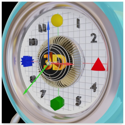 3D O' Clock with 3D engine and objects. - Poster 24 x 24 (60x60 cm)
