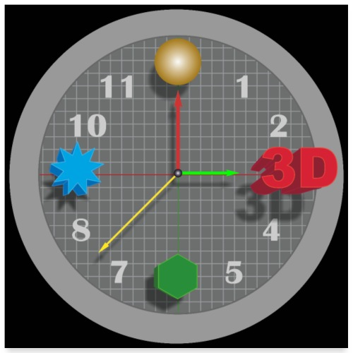 3D O' Clock with Objects - Grey/Black, Poster' - Poster 24 x 24 (60x60 cm)