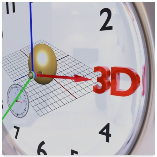 3D O' Clock with Sphere, 3D model, P/View, Poster - Poster 24 x 24 (60x60 cm)