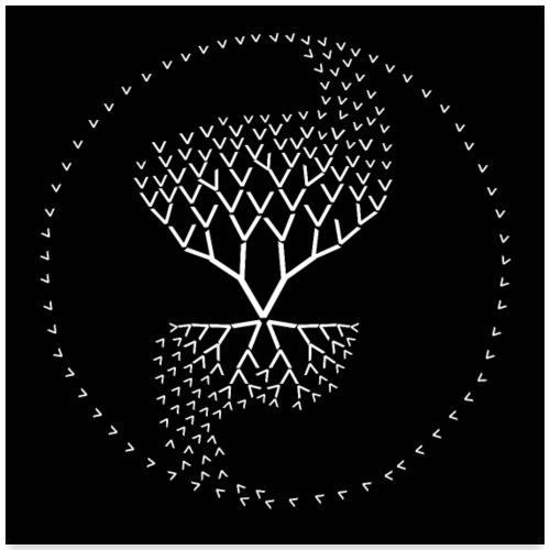 arbre de vie yin yang poster noir v comme vie - Poster 60 x 60 cm