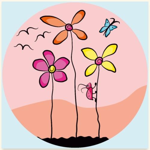 Blumenwiese mit Insekten Poster