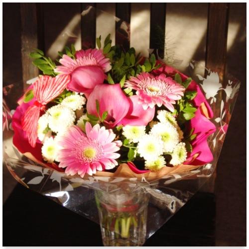 Strauß pink Gerbera Calla Chrysantheme Sommer - Poster 60x60 cm