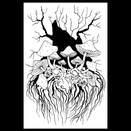Waldgeist Pilzopa Poster schwarz-weiß - Poster 20x30 cm