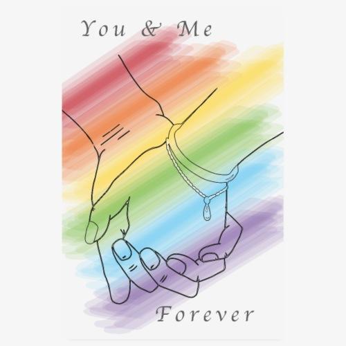 Händchen halten Regenbogen - You & Me Forever - Poster 20x30 cm