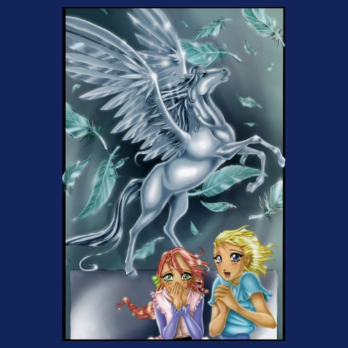 2 girls with Pegasus - Poster 20x30 cm