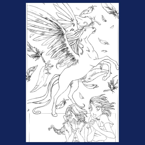 2 girls with Pegasus - Line art version - Poster 20x30 cm