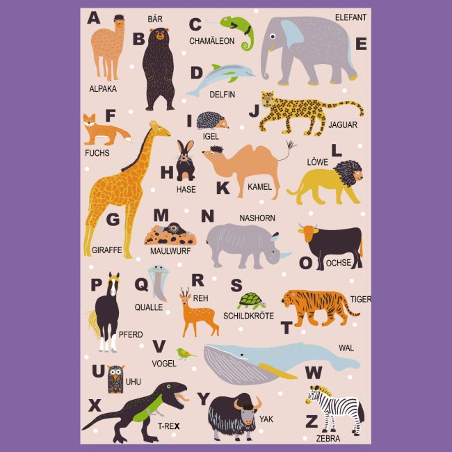 ABC Poster Tiere Kinderzimmer | Poster 20x30 cm