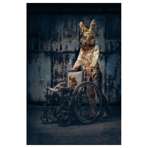 Creepy bunny with wheelchair - Poster 8 x 12 (20x30 cm)