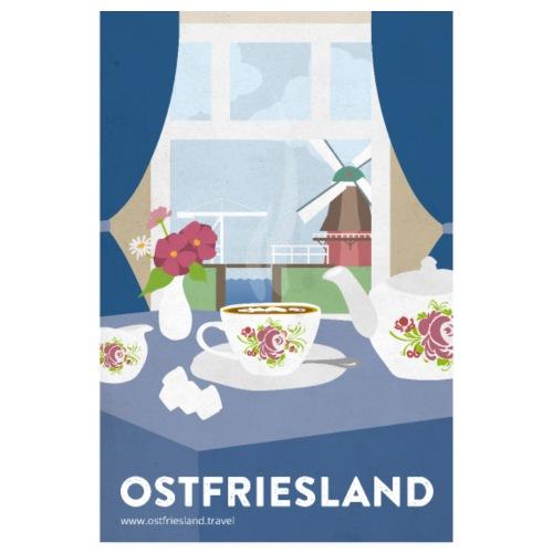 Ostfriesland Vintage Travel Poster - Tee und Mühle
