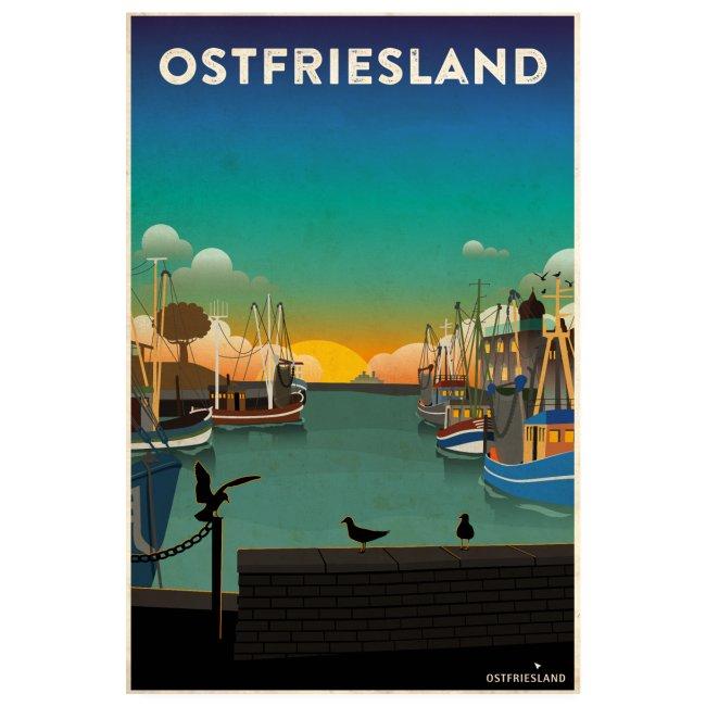 Ostfriesland - Vintage Travel Poster / Kutterhafen