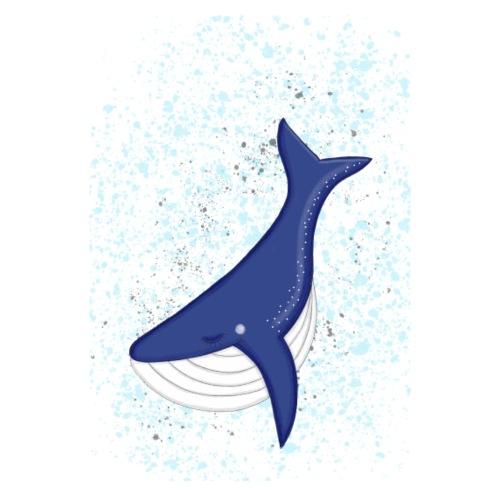 Zufriedener Blauwal im Meer - Poster - Poster 20x30 cm