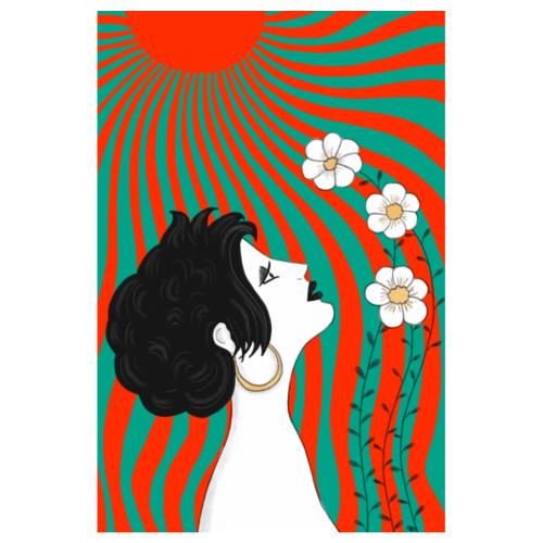 Frau mit Blumen in der Sonnen - Jugendstil Poster - Poster 20x30 cm