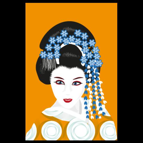 Geisha - Senfgelb und Blau - Poster 20x30 cm