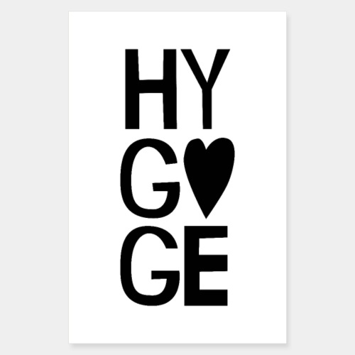Hygge Heart Typography Design - Poster 8 x 12 (20x30 cm)