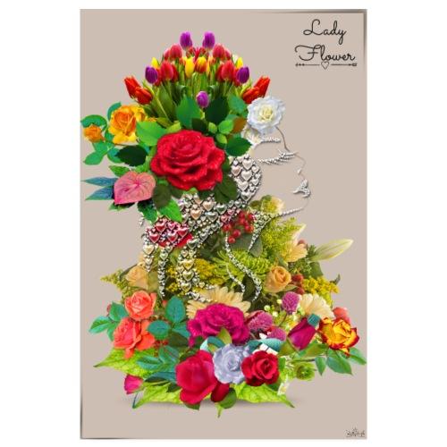 Poster - Lady flower crème by T-shirt chic et choc - Poster 20 x 30 cm