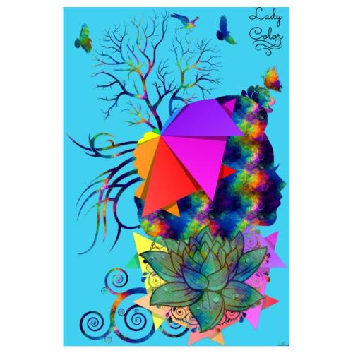 Poster - Lady color blue - by T-shirt chic et choc - Poster 20 x 30 cm