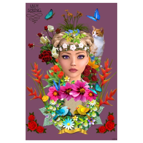Poster - Lady spring - couleur lie de vin - Poster 20 x 30 cm