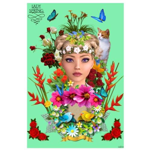 Poster - Lady spring - couleur vert celadon - Poster 20 x 30 cm
