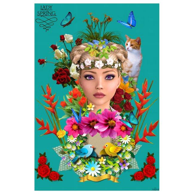 Poster - Lady spring - couleur bleu ocean