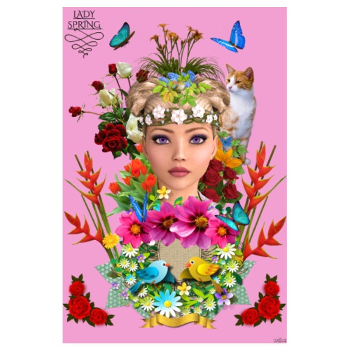 Poster - Lady spring - couleur rose - Poster 20 x 30 cm
