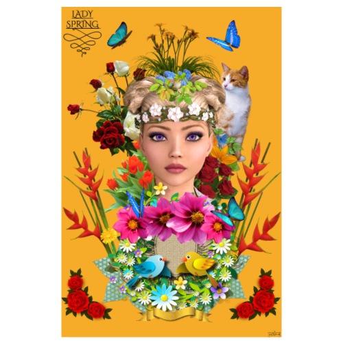 Poster - Lady spring - couleur orange - Poster 20 x 30 cm