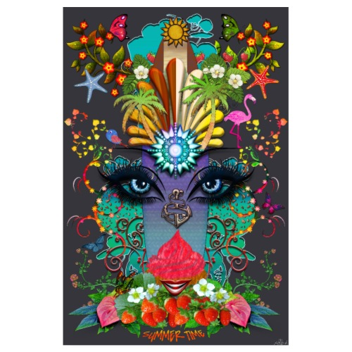 Poster - Summer Time - couleur gris ardoise - Poster 20 x 30 cm