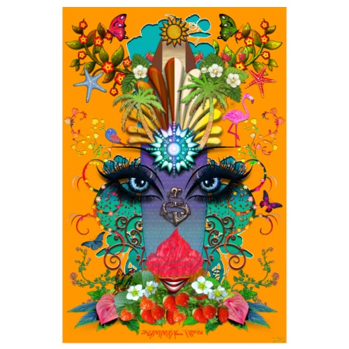 Poster - Summer Time - couleur orange - Poster 20 x 30 cm
