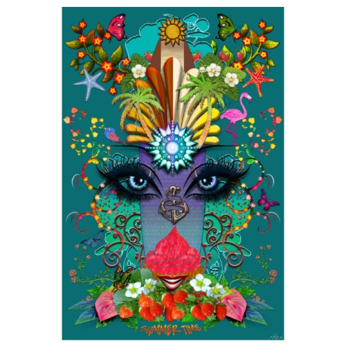 Poster - Summer Time - couleur bleu paon - Poster 20 x 30 cm
