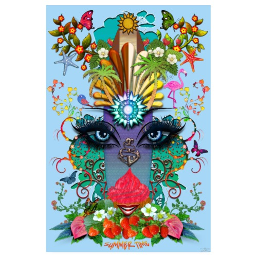 Poster - Summer Time - couleur bleu azur - Poster 20 x 30 cm