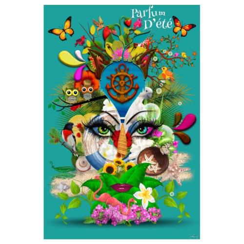 Affiche - Parfum d'été - couleur bleu canard - Poster 20 x 30 cm