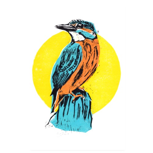 Poster Linocut Kingfisher - Poster 20x30 cm