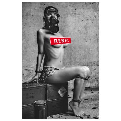 Sexy Coronarebellin mit Gasmaske - Rebel - Poster 20x30 cm