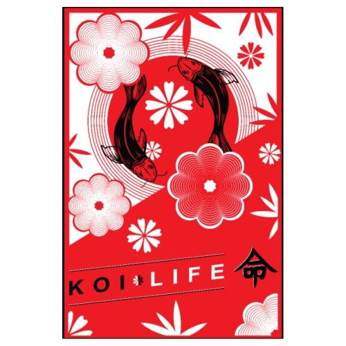 Rotes Koi Karpfen mit Blumen und Schrift Koi Life - Poster 20x30 cm