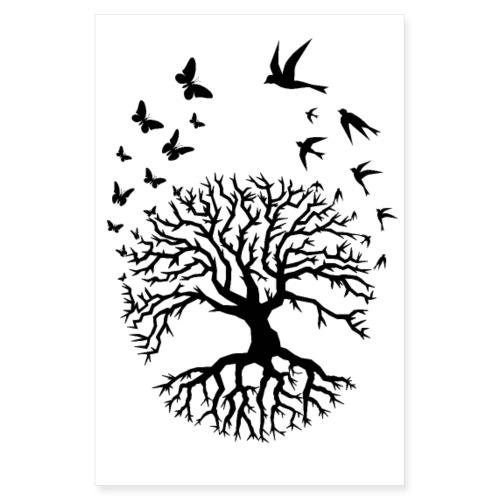 arbre de vie nuées oiseaux papillons tree zen noir - Poster 20 x 30 cm
