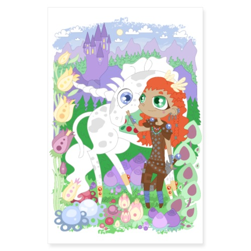the Valkyrie and the Unicorn below the Castle - Poster 20x30 cm